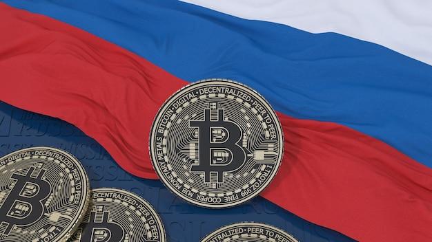 Renderização em 3d de um bitcoin metálico em uma bandeira russa