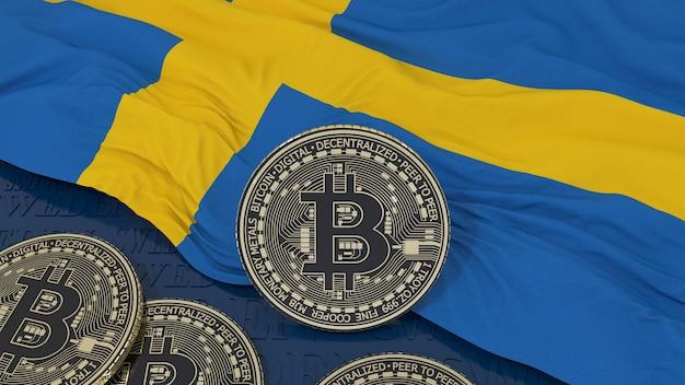 Renderização em 3d de um bitcoin metálico sobre uma bandeira sueca