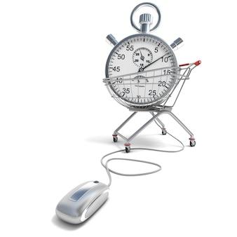 Renderização em 3d de um carrinho de compras com um cronômetro conectado a um mouse de computador