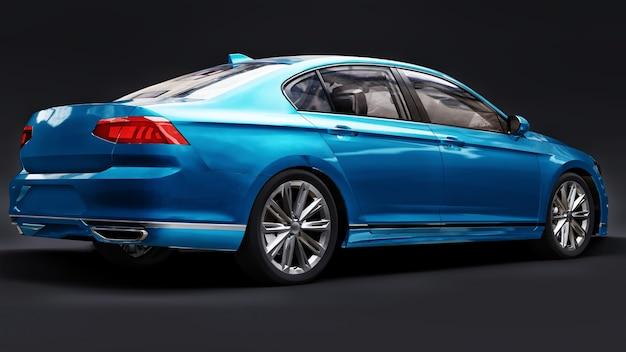 Renderização em 3d de um carro azul genérico sem marca em um ambiente de estúdio preto