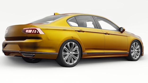Renderização em 3d de um carro laranja genérico sem marca em um ambiente de estúdio branco