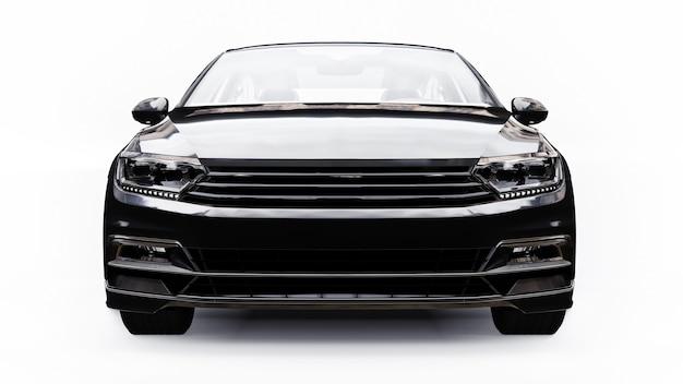 Renderização em 3d de um carro preto genérico sem marca em um ambiente de estúdio branco