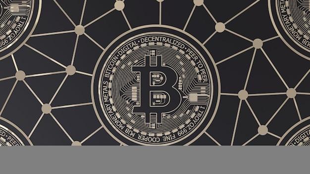 Renderização em 3d de um logotipo bitcoin dourado em preto