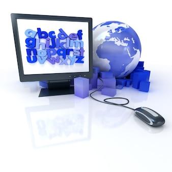 Renderização em 3d de um mapa-múndi cercado por pacotes conectados a um mouse de computador e um monitor com um alfabeto azul