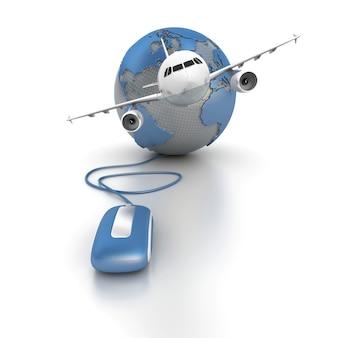 Renderização em 3d de um mapa-múndi conectado a um mouse de computador e um avião decolando