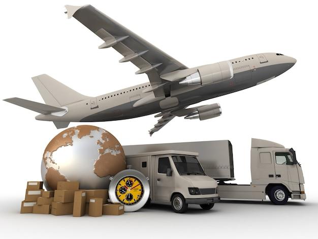 Renderização em 3d de um mapa-múndi, pacotes, vans com cronômetro, caminhões e um avião