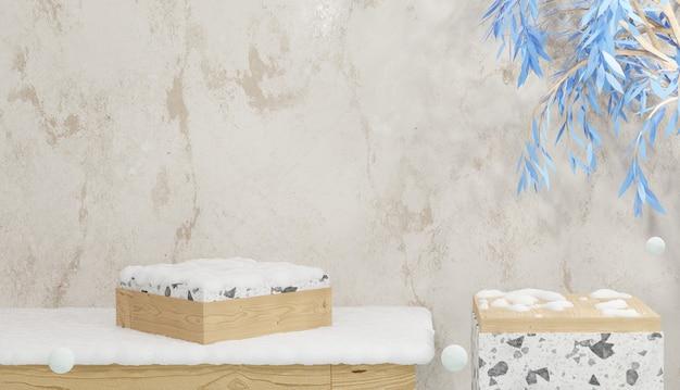 Renderização em 3d de um pódio de madeira vazio e um terraço coberto de neve com o tema árvores de inverno