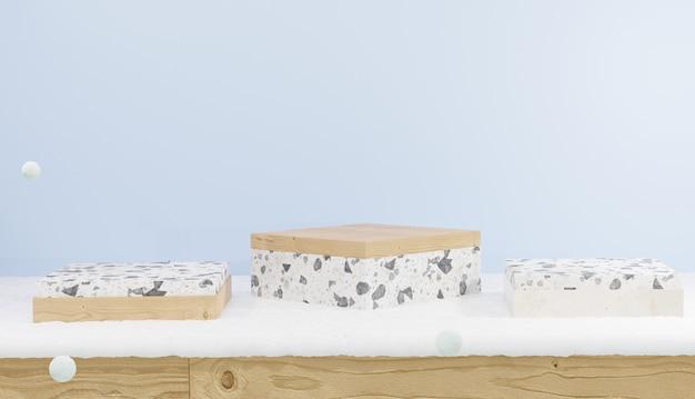 Renderização em 3d de um pódio de madeira vazio e um terraço com piso de madeira coberto com tema de neve e inverno
