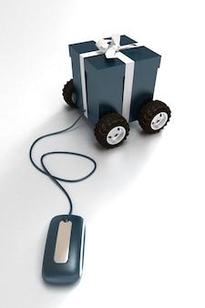 Renderização em 3d de uma caixa de presente azul sobre rodas conectada a um mouse de computador