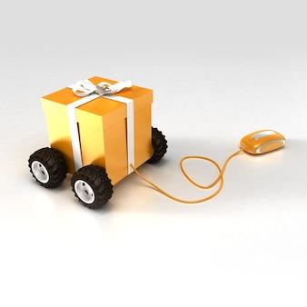 Renderização em 3d de uma caixa de presente laranja sobre rodas conectadas a um mouse de computador