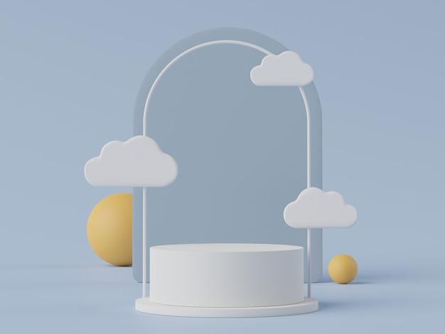 Renderização em 3d de uma cena minimalista em pastel de um pódio em branco com o tema em tons de terra