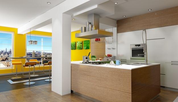 Renderização em 3d de uma cozinha projetada com vista magnífica (as fotos na parede são minhas, então não há problemas de direitos autorais)