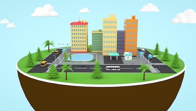 Renderização em 3d de uma ilustração de uma torre de cidade construída no chão com um caminho ao redor do edifício
