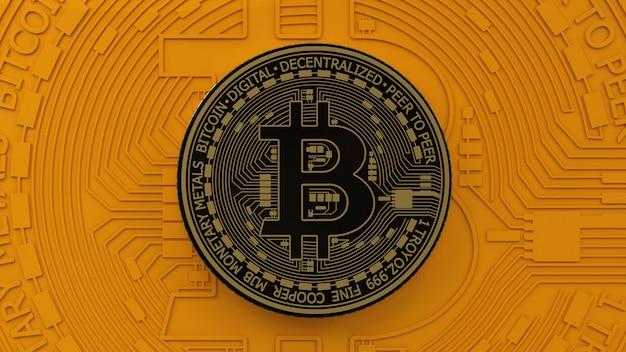 Renderização em 3d de uma moeda bitcoin dourada e preta metálica sobre um fundo laranja