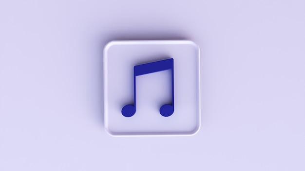 Renderização em 3d de uma música de notas azuis em um fundo branco