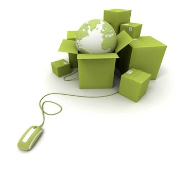Renderização em 3d de uma pilha de caixas verdes com um mapa-múndi conectado a um mouse de computador