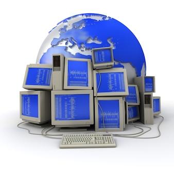 Renderização em 3d de uma pilha de computadores com um código binário nas telas e a terra no fundo