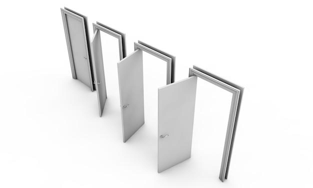Renderização em 3d de uma porta livre em um piso branco
