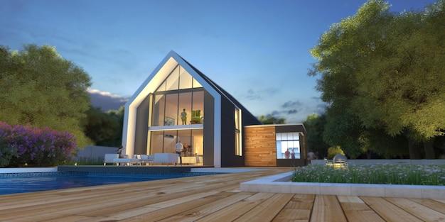 Renderização em 3d de uma villa com telhado inclinado e luminoso e moderno com piscina