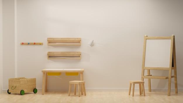 Renderização em 3d design de interiores de quarto infantil aconchegante com brinquedos de mesa de estudo e prateleiras na parede