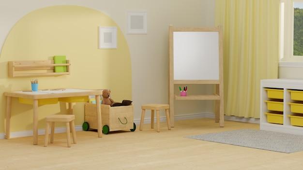 Renderização em 3d design de interiores de quarto infantil aconchegante com mesa de estudo, prateleiras de brinquedos e decorações