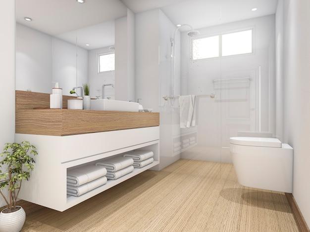 Renderização em 3d design de madeira branca casa de banho e wc