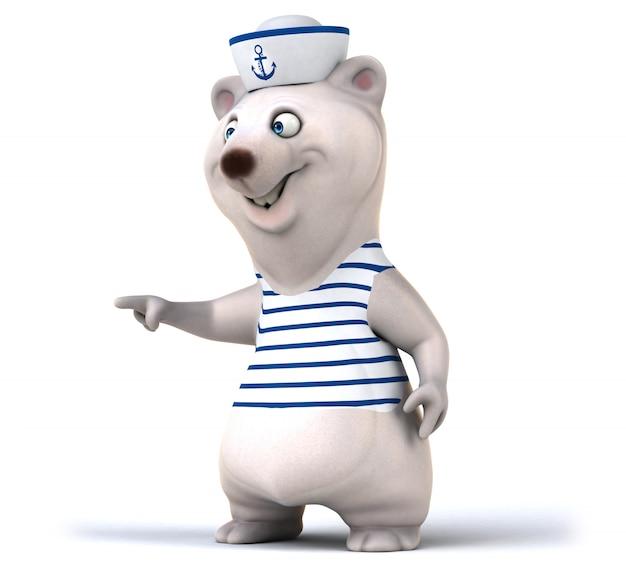 Renderização em 3d divertida de urso fofo