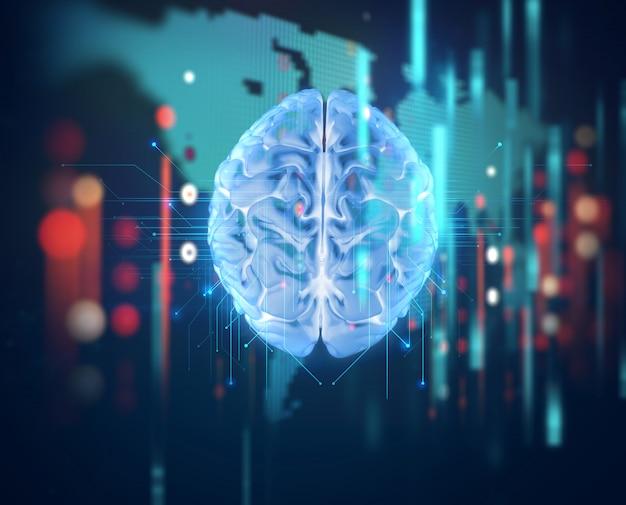 Renderização em 3d do cérebro humano em fundo de tecnologia