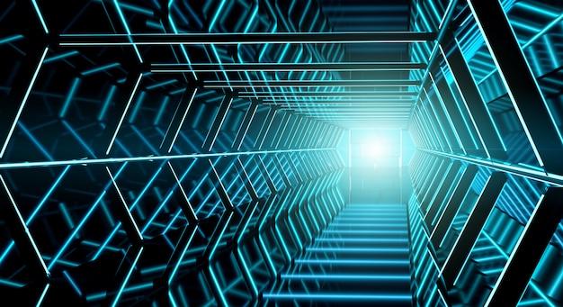 Renderização em 3d do corredor futurista escuro nave espacial