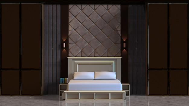 Renderização em 3d do design interior do quarto com painel de parede acolchoado