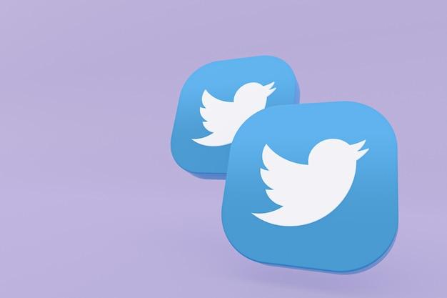 Renderização em 3d do logotipo do aplicativo twitter em fundo roxo