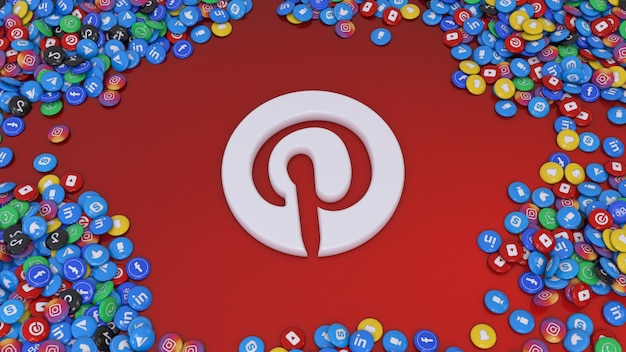 Renderização em 3d do logotipo do pinterest cercado por muitos dos comprimidos brilhantes de redes sociais mais populares em vermelho