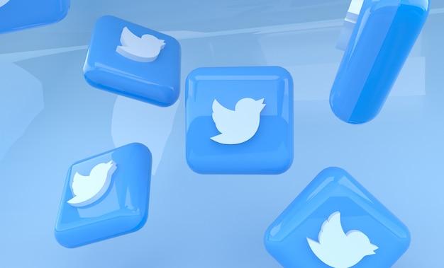 Renderização em 3d do logotipo do twitter cercado por vários comprimidos brilhantes do twitter
