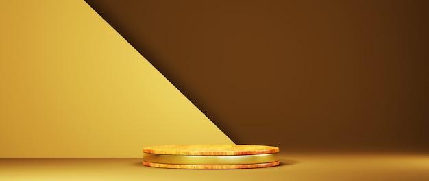 Renderização em 3d do pódio de madeira com padrão dourado, fundo de pano de fundo em tom amarelo. maquete para mostrar o produto.