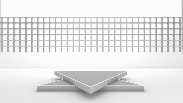 Renderização em 3d do pódio do triângulo para o produto de exibição