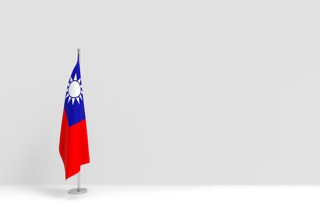 Renderização em 3d. dobrar o pódio do polo da bandeira nacional de taiwan no palco vazio da parede de cimento cinza.