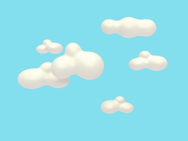 Renderização em 3d estilo abstrato azul nuvem fundo cartoon estilo 3d
