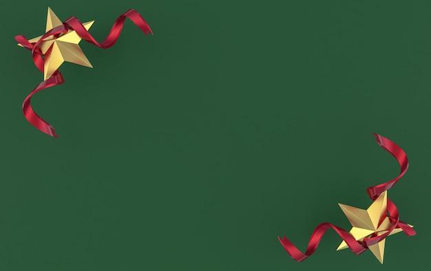 Renderização em 3d. estrela dourada de cinco pontas com fita vermelha no fundo da parede de cimento verde escuro.