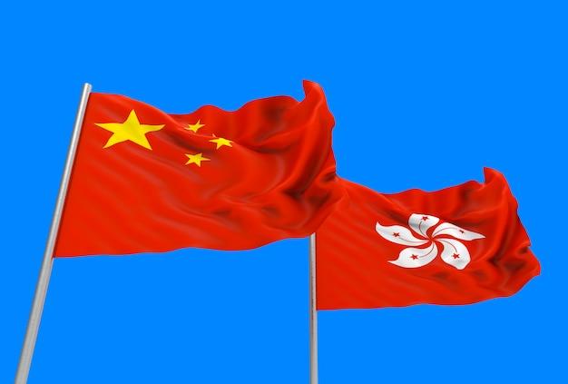 Renderização em 3d. fluindo bandeiras nacionais de china e hong kong com traçado de recorte isolado no céu azul.