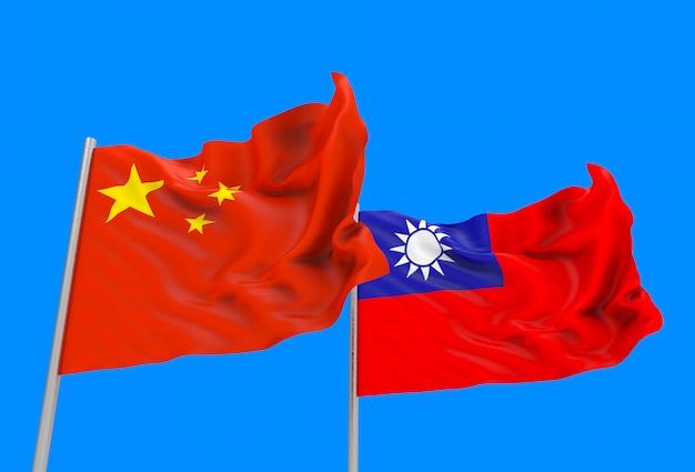 Renderização em 3d. fluindo bandeiras nacionais de china e taiwan com traçado de recorte isolado no céu azul.