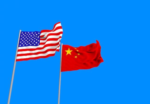 Renderização em 3d. fluindo bandeiras nacionais de eua e china com traçado de recorte isolado no céu azul.