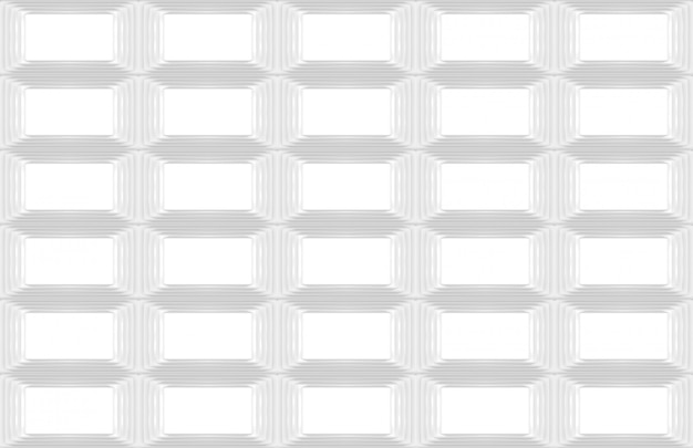 Renderização em 3d. fundo branco moderno sem emenda da arte da parede do projeto da grade do retângulo.