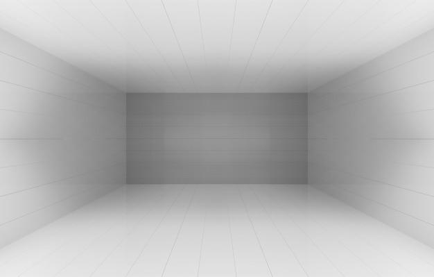 Renderização em 3d. fundo cinzento simples da parede do quadrado da sala do cornor da caixa do cubo.