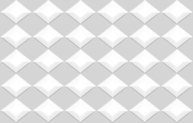 Renderização em 3d. fundo moderno sem emenda da arte da parede do projeto da grade do quadrado branco.