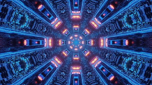 Renderização em 3d futurista de ficção científica com luzes coloridas de techno criando formas legais de fundo