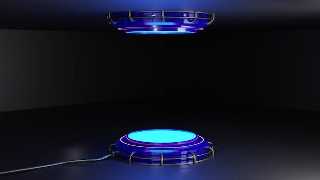 Renderização em 3d futurista em pedestal redondo ou suporte de exibição de palete ou palete vazia futuro palco vazio com luz brilhante