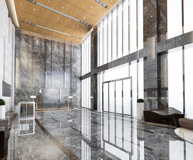 Renderização em 3d grande hotel de luxo entrada hall de entrada e lounge restaurante com teto alto
