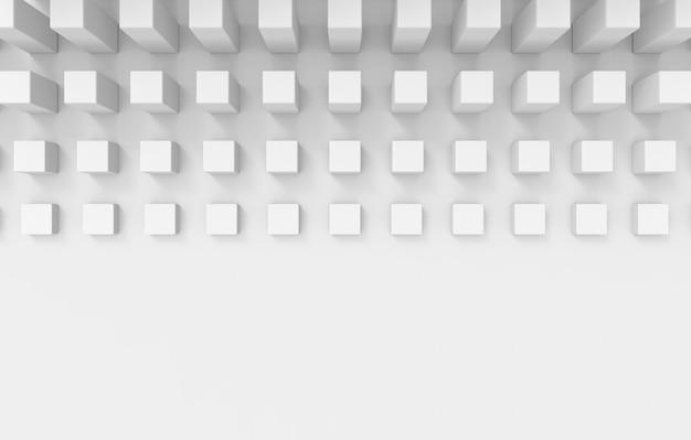 Renderização em 3d. grupo branco do cubo no fundo branco do projeto da parede.