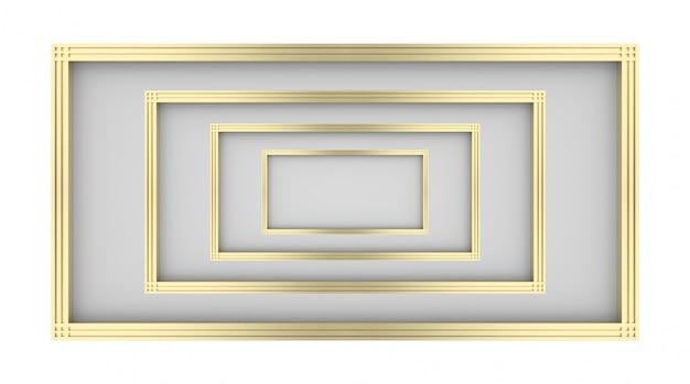 Renderização em 3d. ilusão de ouro luxuoso arte padrão quadro projeto fundo.