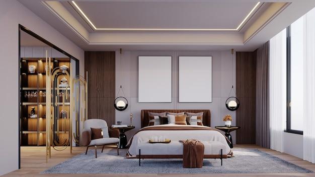 Renderização em 3d, ilustração em 3d, cena interior e maquete de quadro, o quarto tem uma cena entre os camarins. grandes janelas, piso de madeira, móveis em tons de marrom.
